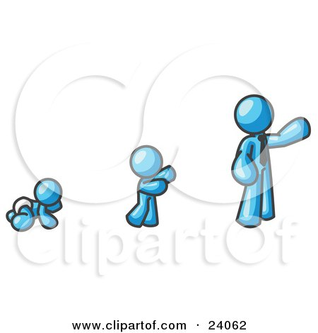 Clipart Illustration of a Light Blue Man in His Growth Stages of Life, as a Baby, Child and Adult by Leo Blanchette