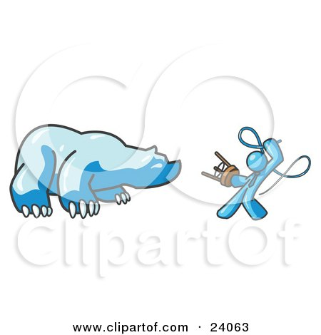 Clipart Illustration of a Light Blue Man Holding a Stool and Whip While Taming a Bear, Bear Market by Leo Blanchette