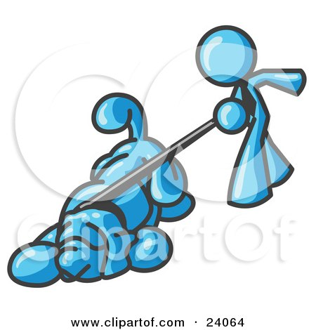 Clipart Illustration of a Light Blue Man Walking a Dog That is Pulling on a Leash by Leo Blanchette