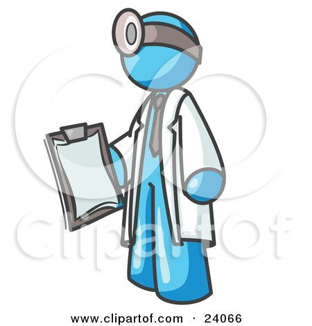 Clipart Illustration of a Light Blue Male Doctor Holding a Clipboard And Wearing a Head Lamp by Leo Blanchette