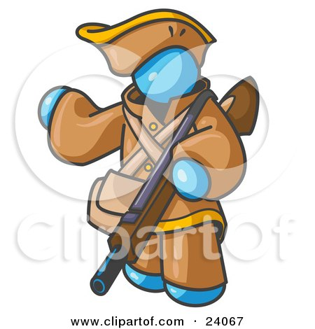 Clipart Illustration of a Light Blue Man in Hunting Gear, Carrying a Rifle by Leo Blanchette