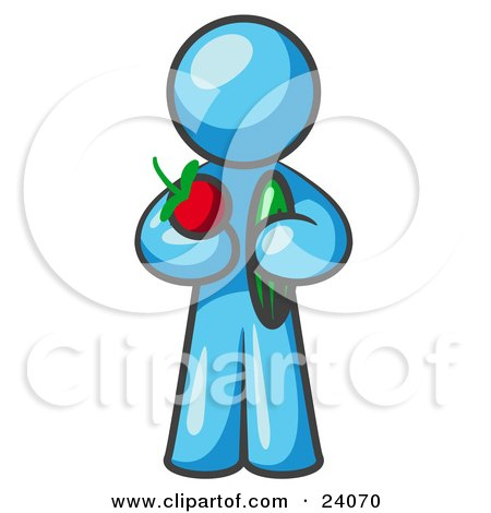 Clipart Illustration of a Healthy Light Blue Man Carrying A Fresh And Organic Apple And Cucumber by Leo Blanchette