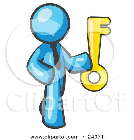 Clipart Illustration of a Light Blue Businessman Holding up a Large Golden Skeleton Key by Leo Blanchette
