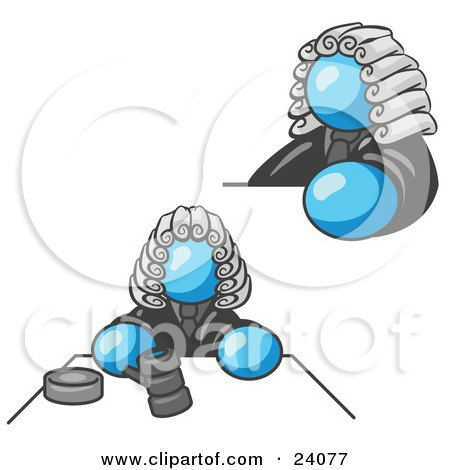 Clipart Illustration of a Light Blue Judge Man Wearing a Wig in Court by Leo Blanchette