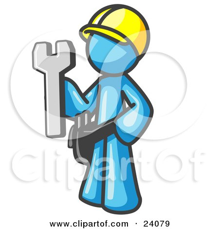 Clipart Illustration of a Proud Light Blue Construction Worker Man in a Hardhat, Holding a Wrench Clipart Illustration by Leo Blanchette