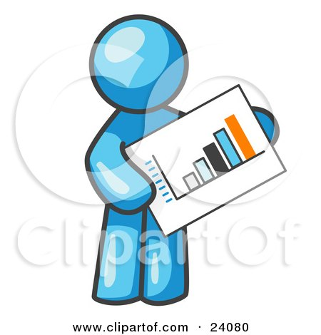Clipart Illustration of a Light Blue Man Holding A Bar Graph Displaying An Increase In Profit by Leo Blanchette