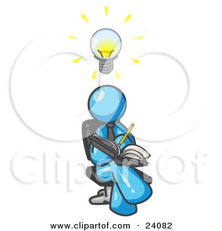 Clipart Illustration of a Smart Light Blue Man Seated With His Legs Crossed, Brainstorming and Writing Ideas Down in a Notebook, Lightbulb Over His Head by Leo Blanchette