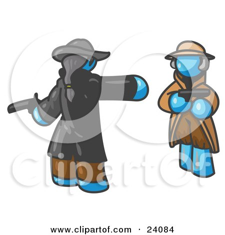 Clipart Illustration of a Light Blue Man Challenging Another Blue Man to a Duel With Pistils  by Leo Blanchette