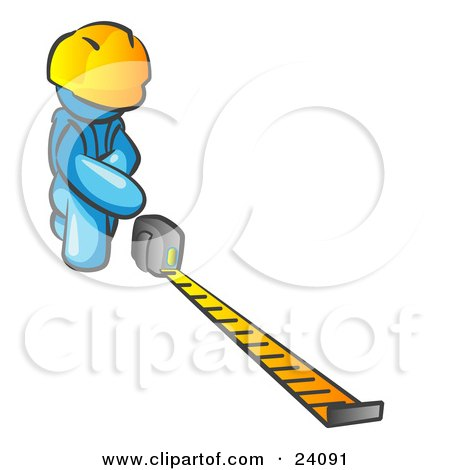 Clipart Illustration of a Light Blue Man Contractor Wearing A Hardhat, Kneeling And Measuring by Leo Blanchette