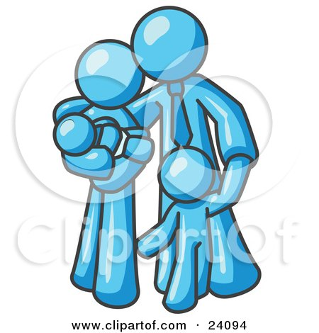 Clipart Illustration of a Light Blue Family Man, a Father, Hugging His Wife and Two Children by Leo Blanchette