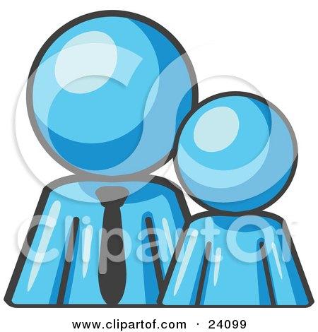 Clipart Illustration of a Light Blue Child Or Employee Standing Beside A Bigger Blue Businessman, Symbolizing Management, Parenting Or Mentorship by Leo Blanchette