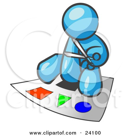 Clipart Illustration of a Light Blue Man Holding A Pair Of Scissors And Sitting On A Large Poster Board With Colorful Shapes by Leo Blanchette