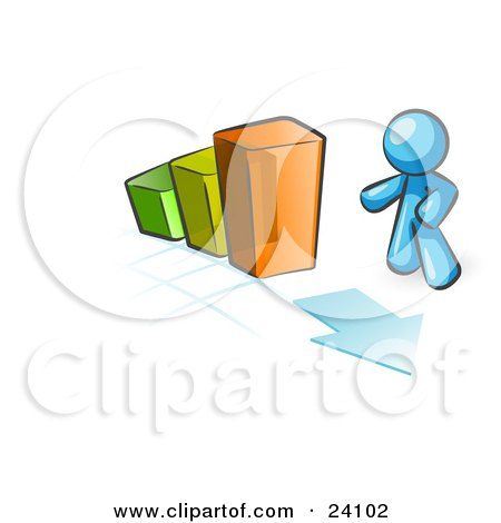 Clipart Illustration of a Light Blue Man Standing By An Increasing Green, Yellow And Orange Bar Graph On A Grid Background With An Arrow by Leo Blanchette