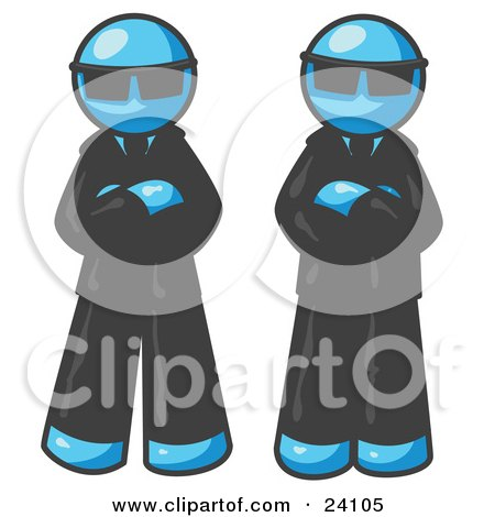 Clipart Illustration of Two Light Blue Men Standing With Their Arms Crossed, Wearing Sunglasses and Black Suits by Leo Blanchette