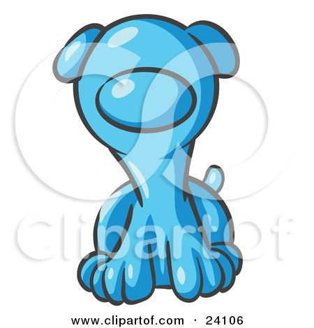 Clipart Illustration of a Cute Light Blue Puppy Dog Looking Curiously at the Viewer by Leo Blanchette