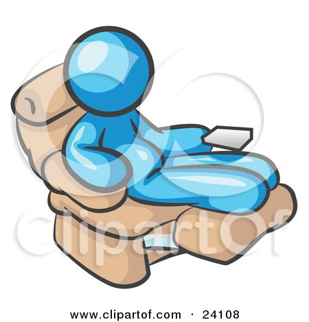 Clipart Illustration of a Chubby And Lazy Light Blue Man With A Beer Belly, Sitting In A Recliner Chair With His Feet Up by Leo Blanchette