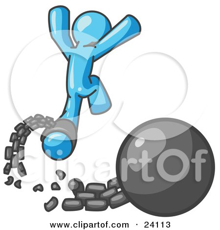 Clipart Illustration of a Light Blue Man Jumping For Joy While Breaking Away From a Ball and Chain, Symbolizing Freedom From Debt Or Divorce by Leo Blanchette