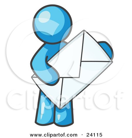 Clipart Illustration of a Light Blue Person Standing And Holding A Large Envelope, Symbolizing Communications And Email by Leo Blanchette