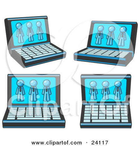 Clipart Illustration of Four Laptop Computers With Three Light Blue Men on Each Screen by Leo Blanchette