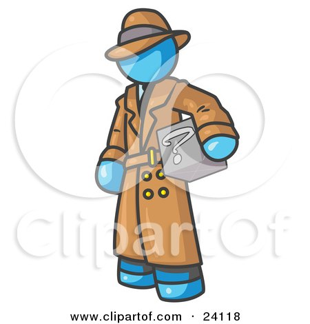 Clipart Illustration of a Secretive Light Blue Man in a Trench Coat and Hat, Carrying a Box With a Question Mark on it by Leo Blanchette