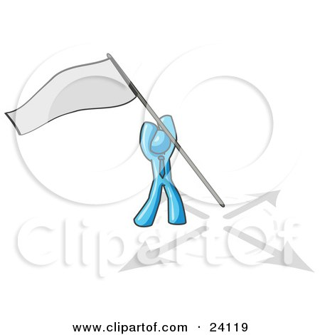 Clipart Illustration of a Light Blue Man Claiming Territory or Capturing the Flag by Leo Blanchette