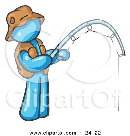 Clipart Illustration of a Light Blue Man Wearing A Hat And Vest And Holding A Fishing Pole by Leo Blanchette