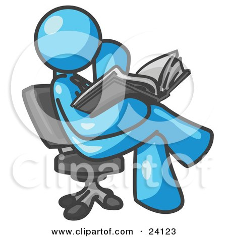 Clipart Illustration of a Light Blue Man Sitting Cross Legged in a Chair and Reading a Book by Leo Blanchette