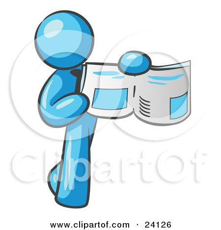 Clipart Illustration of a Light Blue Man Holding Up A Newspaper And Pointing To An Article by Leo Blanchette