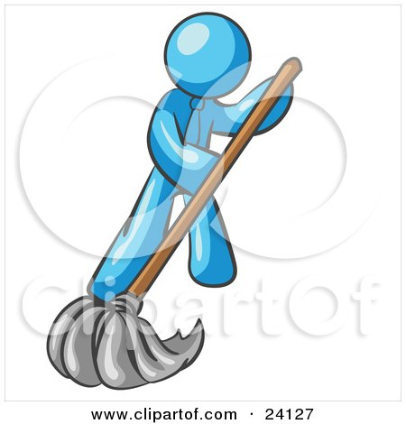 Clipart Illustration of a Light Blue Man Wearing A Tie, Using A Mop While Mopping A Hard Floor To Clean Up A Mess Or Spill by Leo Blanchette