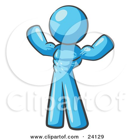 Clipart Illustration of a Light Blue Bodybuilder Man Flexing His Muscles And Showing The Definition In His Abs, Chest And Arms by Leo Blanchette