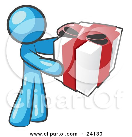 Clipart Illustration of a Thoughtful Light Blue Man Holding A Christmas, Birthday, Valentine's Day Or Anniversary Gift Wrapped In White Paper With Red Ribbon And A Bow by Leo Blanchette