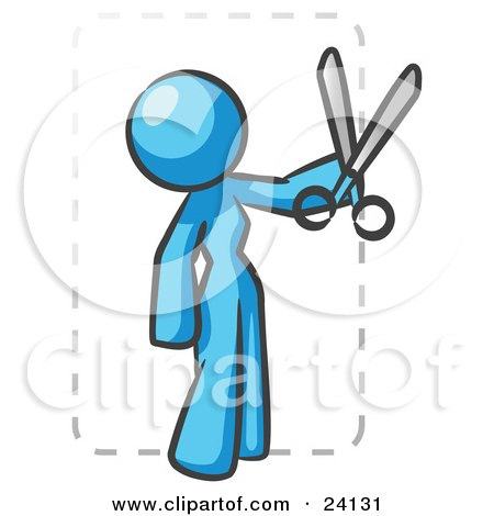 Clipart Illustration of a Light Blue Lady Character Snipping Out A Coupon With A Pair Of Scissors Before Going Shopping by Leo Blanchette
