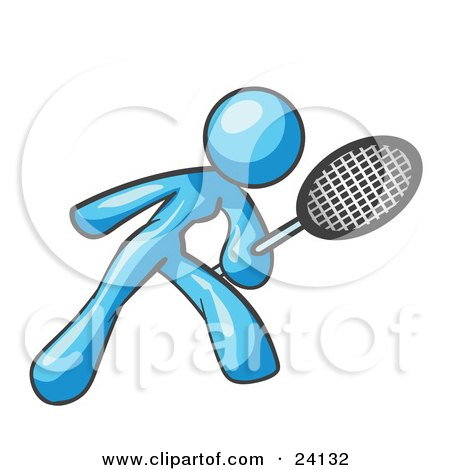 Clipart Illustration of a Light Blue Woman Preparing To Hit A Tennis Ball With A Racquet by Leo Blanchette