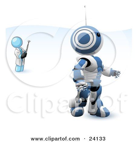Clipart Illustration of a Light Blue Man Inventor Operating An Blue Robot With A Remote Control by Leo Blanchette