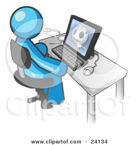 Clipart Illustration of a Light Blue Doctor Man Sitting at a Computer and Viewing an Xray of a Head  by Leo Blanchette