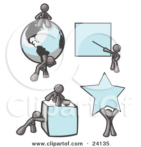 Clipart Illustration of With a Globe, Presentation Board, Cube and Star  by Leo Blanchette