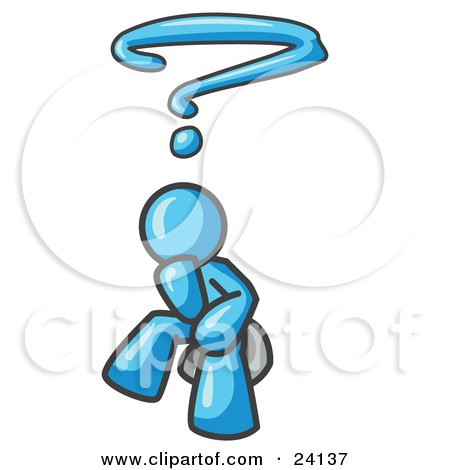 Clipart Illustration of a Confused Light Blue Business Man With a Questionmark Over His Head by Leo Blanchette