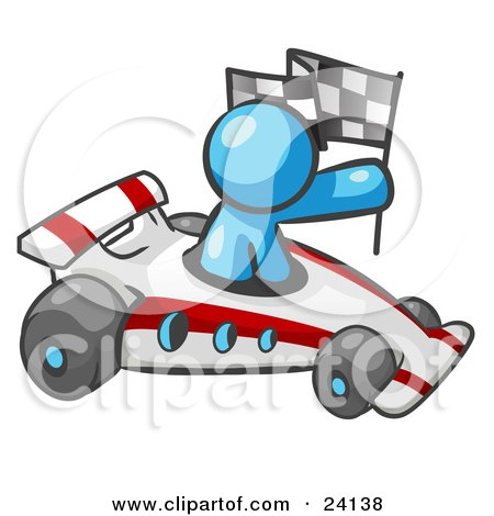 Clipart Illustration of a Light Blue Man Driving A Fast Race Car Past Flags While Racing by Leo Blanchette