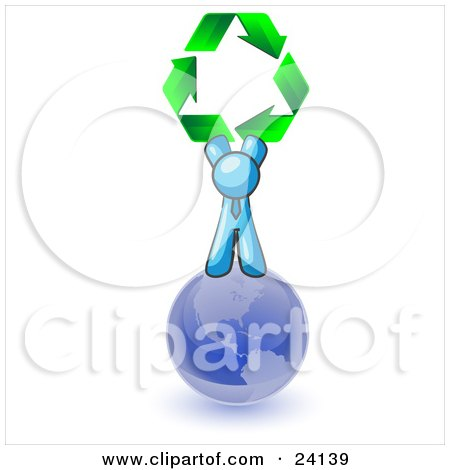 Clipart Illustration of a Light Blue Man Standing On Top Of The Blue Planet Earth And Holding Up Three Green Arrows Forming A Triangle And Moving In A Clockwise Motion, Symbolizing Renewable Energy And Recycling by Leo Blanchette