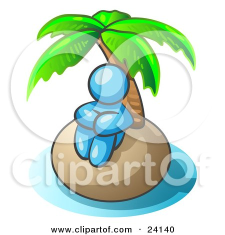 Clipart Illustration of a Light Blue Man Sitting All Alone With A Palm Tree On A Deserted Island by Leo Blanchette