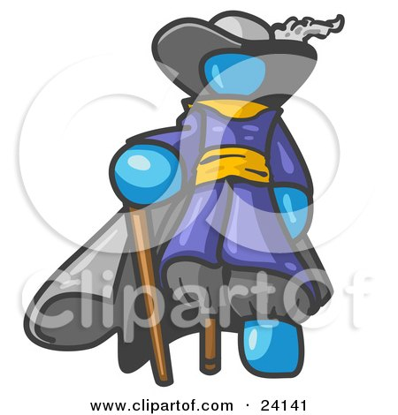 Clipart Illustration of a Light Blue Male Pirate With a Cane and a Peg Leg by Leo Blanchette