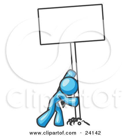 Clipart Illustration of a Strong Light Blue Man Pushing a Blank Sign Upright  by Leo Blanchette