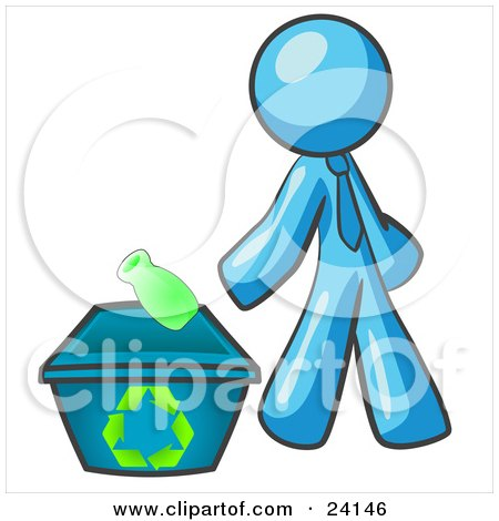 Clipart Illustration of a Light Blue Man Tossing A Plastic Container Into A Recycle Bin, Symbolizing Someone Doing Their Part To Help The Environment And To Be Earth Friendly by Leo Blanchette