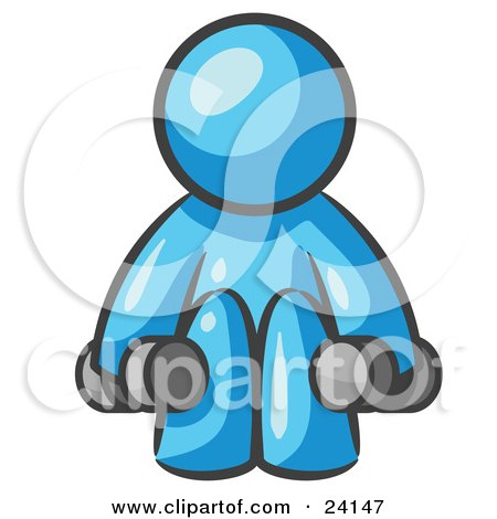 Clipart Illustration of a Light Blue Man Lifting Dumbells While Strength Training by Leo Blanchette