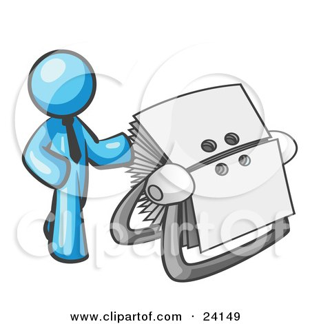 Clipart Illustration of a Light Blue Businessman Standing Beside A Rotary Card File With Blank Index Cards by Leo Blanchette
