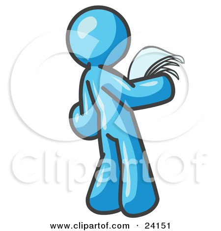 Clipart Illustration of a Serious Light Blue Man Reading Papers and Documents by Leo Blanchette