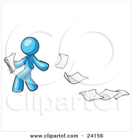 Clipart Illustration of a Light Blue Man Dropping White Sheets Of Paper On A Ground And Leaving A Paper Trail, Symbolizing Waste by Leo Blanchette