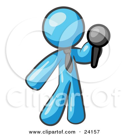 Clipart Illustration of a Light Blue Man, A Comedian Or Vocalist, Wearing A Tie, Standing On Stage And Holding A Microphone While Singing Karaoke Or Telling Jokes by Leo Blanchette