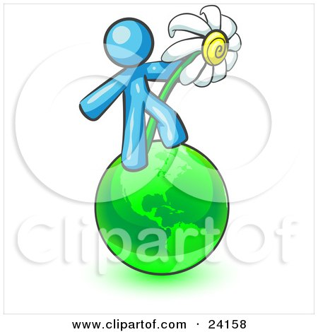 Clipart Illustration of a Light Blue Man Standing On The Green Planet Earth And Holding A White Daisy, Symbolizing Organics And Going Green For A Healthy Environment by Leo Blanchette