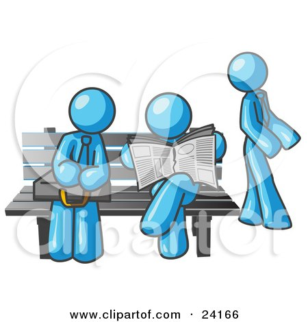 Clipart Illustration of Light Blue Men at a Bench at a Bus Stop  by Leo Blanchette